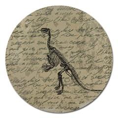 Dinosaur Skeleton Magnet 5  (round) by Valentinaart