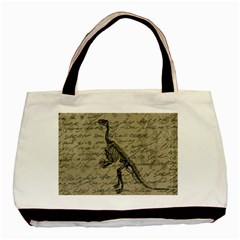 Dinosaur Skeleton Basic Tote Bag by Valentinaart