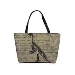 Dinosaur Skeleton Shoulder Handbags by Valentinaart