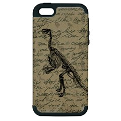 Dinosaur Skeleton Apple Iphone 5 Hardshell Case (pc+silicone) by Valentinaart