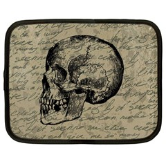 Skull Netbook Case (Large) by Valentinaart