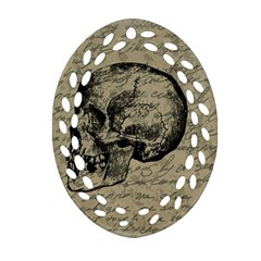 Skull Oval Filigree Ornament (two Sides) by Valentinaart