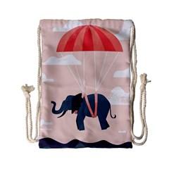 Digital Slon Parashyut Vektor Drawstring Bag (small) by Simbadda