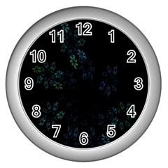 Fractal Pattern Black Background Wall Clocks (silver)  by Simbadda