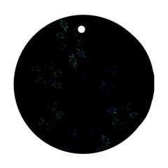 Fractal Pattern Black Background Round Ornament (two Sides) by Simbadda