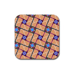 Overlaid Patterns Rubber Square Coaster (4 Pack)  by Simbadda