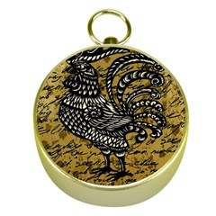Vintage Rooster  Gold Compasses by Valentinaart