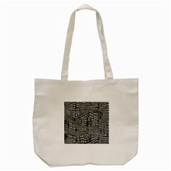 Recursive Subdivision Between 5 Source Lines Screen Black Tote Bag (cream) by Simbadda