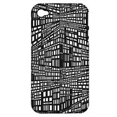 Recursive Subdivision Between 5 Source Lines Screen Black Apple Iphone 4/4s Hardshell Case (pc+silicone)