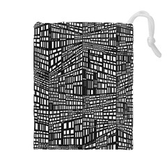 Recursive Subdivision Between 5 Source Lines Screen Black Drawstring Pouches (extra Large) by Simbadda