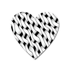 Black And White Pattern Heart Magnet by Simbadda