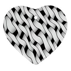 Black And White Pattern Heart Ornament (two Sides) by Simbadda