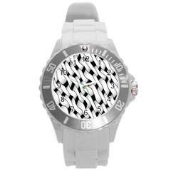 Black And White Pattern Round Plastic Sport Watch (l) by Simbadda