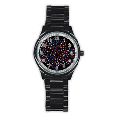 America Usa Map Stars Vector  Stainless Steel Round Watch