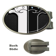Texture Cats Black White Money Clips (oval)  by Simbadda