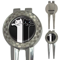 Texture Cats Black White 3 In 1 Golf Divots by Simbadda
