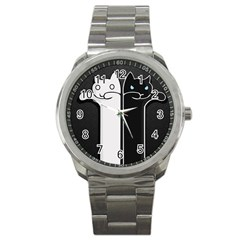 Texture Cats Black White Sport Metal Watch by Simbadda