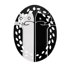 Texture Cats Black White Oval Filigree Ornament (two Sides) by Simbadda
