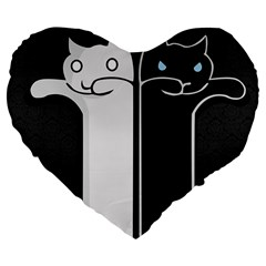 Texture Cats Black White Large 19  Premium Flano Heart Shape Cushions by Simbadda