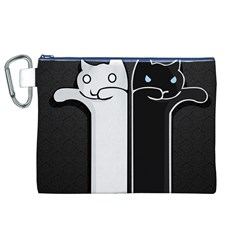 Texture Cats Black White Canvas Cosmetic Bag (xl) by Simbadda