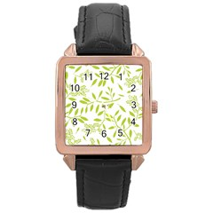 Leaves Pattern Seamless Rose Gold Leather Watch  by Simbadda