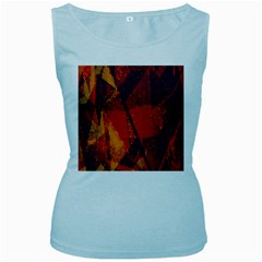 Surface Line Pattern Red Women s Baby Blue Tank Top by Simbadda