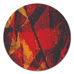 Surface Line Pattern Red Magnet 5  (round) by Simbadda