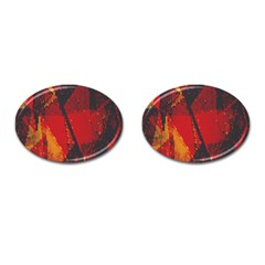 Surface Line Pattern Red Cufflinks (oval) by Simbadda