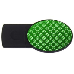 Whatsapp Logo Pattern Usb Flash Drive Oval (4 Gb) by Simbadda