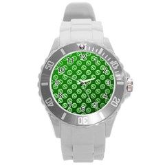 Whatsapp Logo Pattern Round Plastic Sport Watch (l) by Simbadda