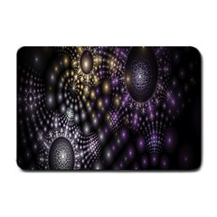 Fractal Patterns Dark Circles Small Doormat  by Simbadda