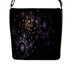 Fractal Patterns Dark Circles Flap Messenger Bag (l)  by Simbadda