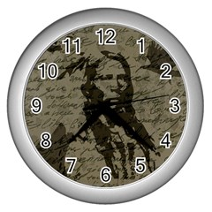 Indian Chief Wall Clocks (silver)  by Valentinaart