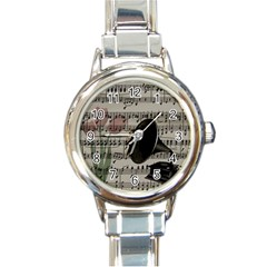 Vintage Music Design Round Italian Charm Watch by Valentinaart