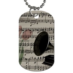Vintage Music Design Dog Tag (two Sides) by Valentinaart