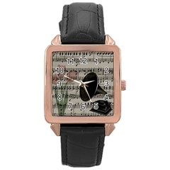 Vintage Music Design Rose Gold Leather Watch  by Valentinaart