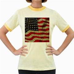 Vintage American Flag Women s Fitted Ringer T Shirts by Valentinaart