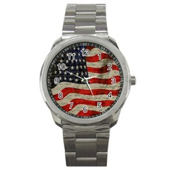 Vintage American Flag Sport Metal Watch by Valentinaart
