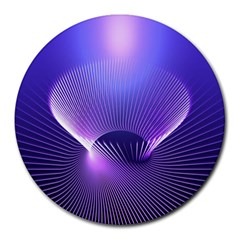 Abstract Fractal 3d Purple Artistic Pattern Line Round Mousepads by Simbadda