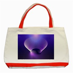 Abstract Fractal 3d Purple Artistic Pattern Line Classic Tote Bag (red) by Simbadda