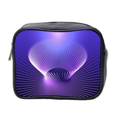 Abstract Fractal 3d Purple Artistic Pattern Line Mini Toiletries Bag 2 Side by Simbadda