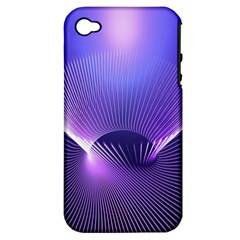 Abstract Fractal 3d Purple Artistic Pattern Line Apple Iphone 4/4s Hardshell Case (pc+silicone)