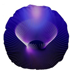 Abstract Fractal 3d Purple Artistic Pattern Line Large 18  Premium Flano Round Cushions by Simbadda