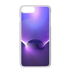 Abstract Fractal 3d Purple Artistic Pattern Line Apple Iphone 7 Plus White Seamless Case by Simbadda