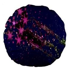 Stars Abstract Shine Spots Lines Large 18  Premium Flano Round Cushions by Simbadda