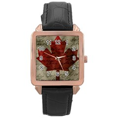 Canada Flag Rose Gold Leather Watch  by Valentinaart