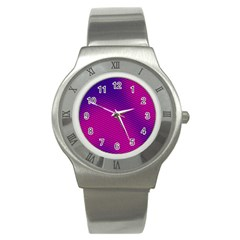 Retro Halftone Pink On Blue Stainless Steel Watch by Simbadda