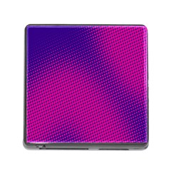 Retro Halftone Pink On Blue Memory Card Reader (square) by Simbadda
