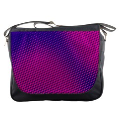 Retro Halftone Pink On Blue Messenger Bags by Simbadda