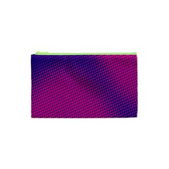 Retro Halftone Pink On Blue Cosmetic Bag (xs)